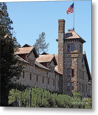The Culinary Institute Of America Greystone St Helena Napa California 5d29498 Square Metal Print by Wingsdomain Art and Photography