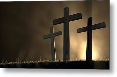 The Early Morning Crucifixion Metal Print by Allan Swart