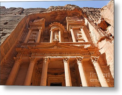 The Facade Of Al Khazneh In Petra Jordan Metal Print by Robert Preston