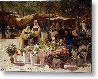 The Flower Market Metal Print by Victor Gabriel Gilbert