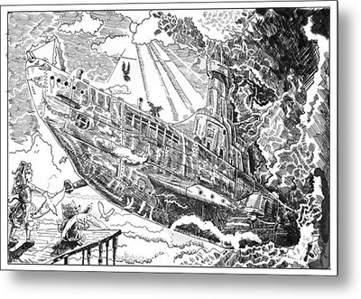 Metal Print featuring the drawing The Flying Submarine by Reynold Jay