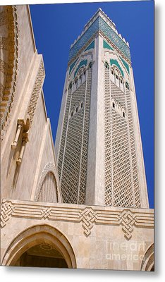 Metal Print featuring the photograph The Hassan II Mosque Grand Mosque With The Worlds Tallest 210m Minaret Sour Jdid Casablanca Morocco by Ralph A  Ledergerber-Photography