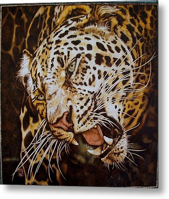 The Leopard's Hello Metal Print by Cynthia Adams