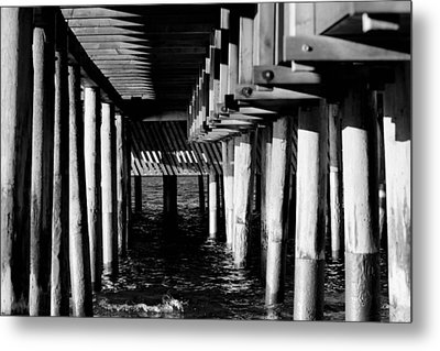 The Pier In Black And White Metal Print