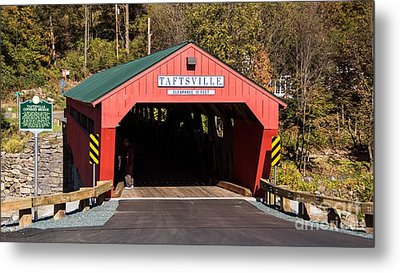 The Rebuilt Taftsville Covered Bridge. Metal Print by New England Photography