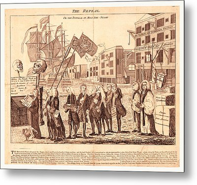 The Repeal, Or The Funeral Of Miss Ame=stamp Metal Print by Litz Collection