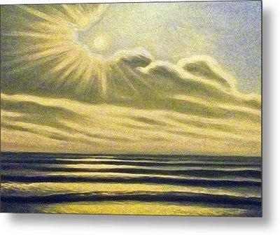 The Sea Clouds And Sun Metal Print by Algirdas Lukas
