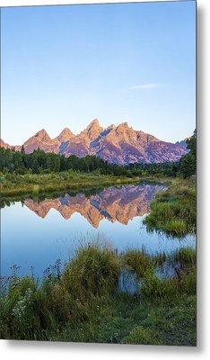 The Tetons Reflected On Schwabachers Landing - Grand Teton National Park Wyoming Metal Print by Brian Harig