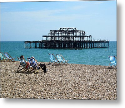 The West Pier Brighton Metal Print by Mike Lester