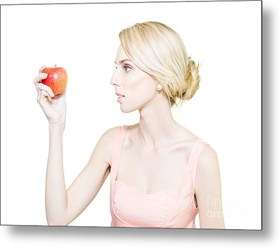 Thin Undernourished Woman Holding An Apple Metal Print by Jorgo Photography - Wall Art Gallery