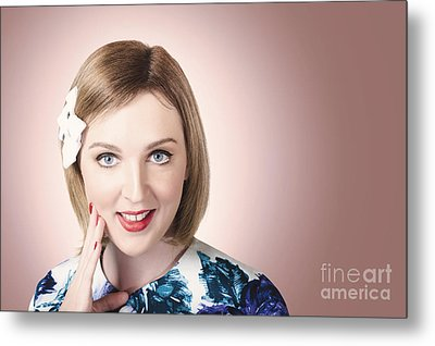 Thinking Pin Up Lady With Short Hairstyle Metal Print by Jorgo Photography - Wall Art Gallery