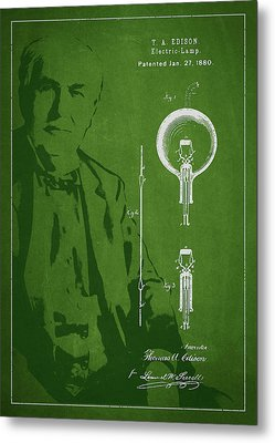 Thomas Edison Electric Lamp Patent Drawing From 1880 Metal Print by Aged Pixel