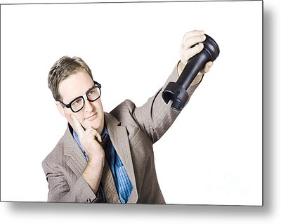 Thoughtful Businessman Holding Rook Metal Print by Jorgo Photography - Wall Art Gallery