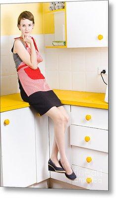 Thoughtful Woman In Kitchen Metal Print
