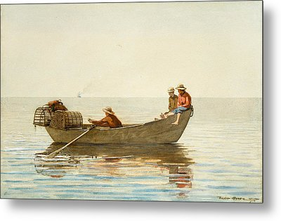 Three Boys In A Dory With Lobster Pots Metal Print by Winslow Homer