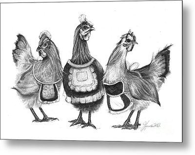 Three French Hens Metal Print
