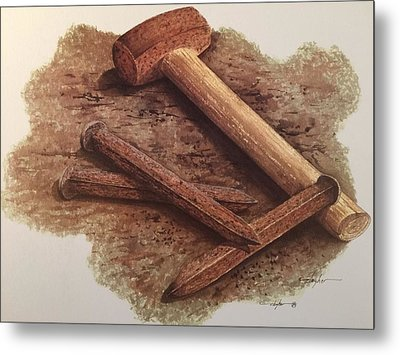 Three Rusty Nails Metal Print by Mickey Clogher