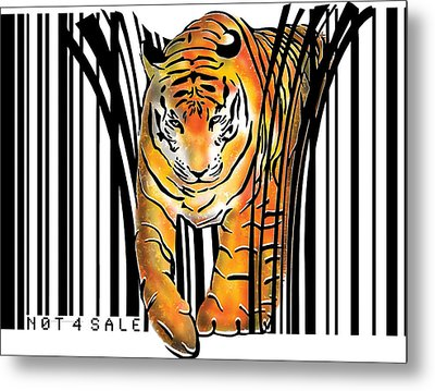 Tiger Barcode Metal Print by Sassan Filsoof