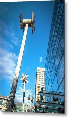 Tilted Windmills Sculpture Metal Print