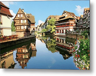 Timbered Buildings, La Petite France Metal Print by Miva Stock