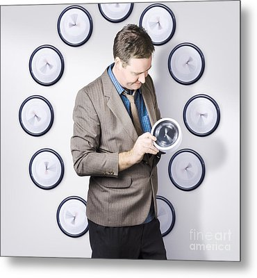 Time Management Business Man Looking At Clock Metal Print by Jorgo Photography - Wall Art Gallery