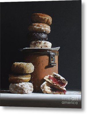 Tin With Donuts Metal Print by Larry Preston