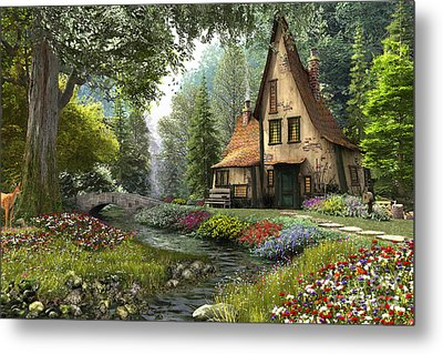 Toadstool Cottage Metal Print