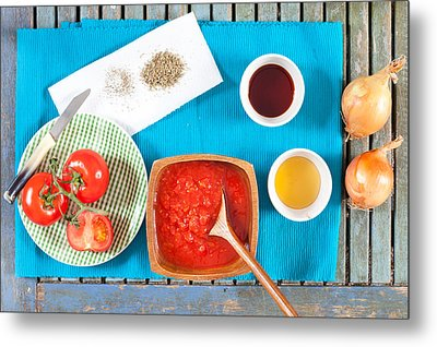 Tomatoes And Onions Metal Print by Tom Gowanlock