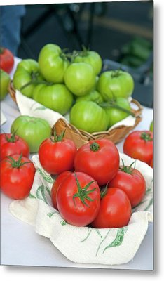 Tomatoes On Sale At A Farmers Market Metal Print by Jim West