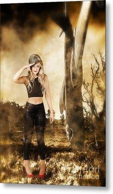 Tough Australian Pin-up Girl. Spirit Of The Anzac Metal Print