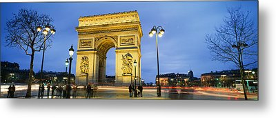 Tourists Walking In Front Metal Print