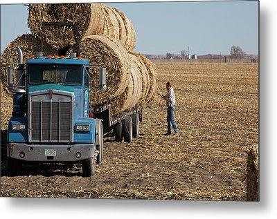 Transporting Bales Of Hay Metal Print by Jim West