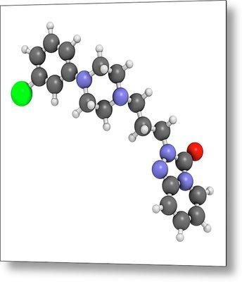 Trazodone Antidepressant Drug Molecule Metal Print by Molekuul