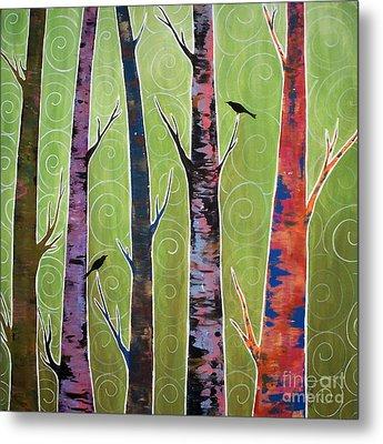 Trees On Green Metal Print