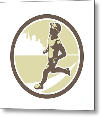 Triathlete Running Side Circle Retro Metal Print by Aloysius Patrimonio