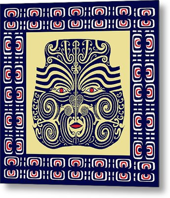 Metal Print featuring the digital art Marquesas Tribal Spirits by Vagabond Folk Art - Virginia Vivier