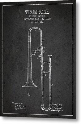 Trombone Patent From 1902 - Dark Metal Print by Aged Pixel