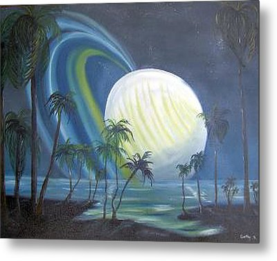 Tropical Moon Metal Print