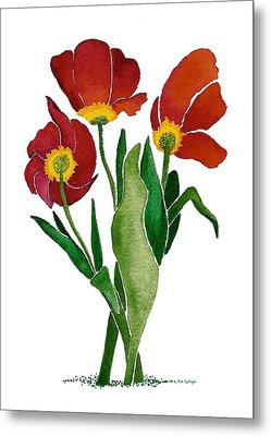 Metal Print featuring the painting Tulip Trio by Nan Wright