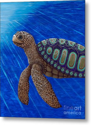 Turtle Painting Bomber Triptych 2 Metal Print by Rebecca Parker