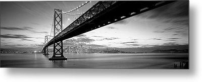 Twilight, Bay Bridge, San Francisco Metal Print by Panoramic Images