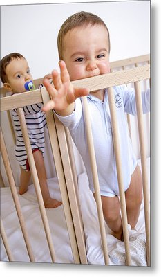 Twin Baby Boys In Their Cots Metal Print