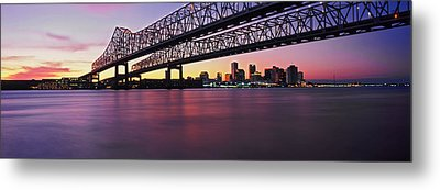 Twins Bridge Over A River, Crescent Metal Print by Panoramic Images