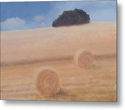 Two Hay Bales, 2012 Acrylic On Canvas Metal Print