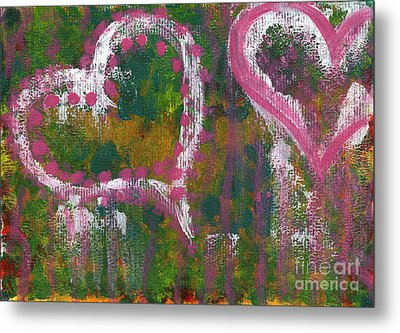 Two Hearts Metal Print by Angela Bruno