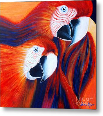 Metal Print featuring the painting Two Parrots. Inspirations Collection. by Oksana Semenchenko