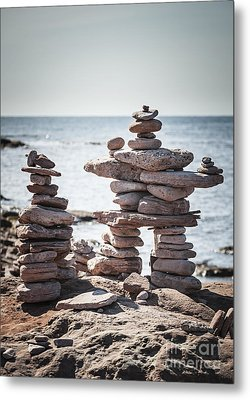 Two Stacked Stone Cairns Metal Print