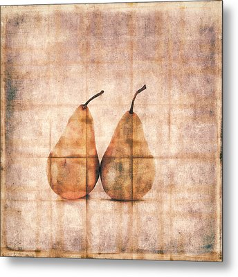 Two Yellow Pears On Folded Linen Metal Print by Carol Leigh