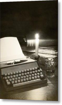 Typewriter By Candlelight Metal Print by Amanda Elwell