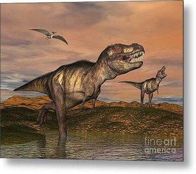 Tyrannosaurus Rex Dinosaurs Metal Print by Elena Duvernay